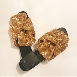 NWT Zara basic gold sequin slide